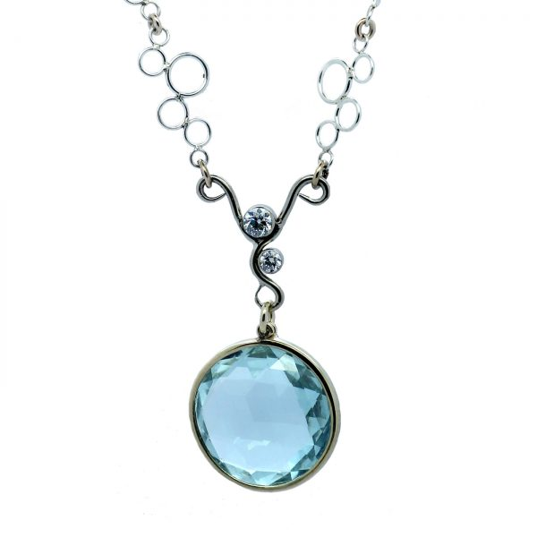 Serena Fox - Ocean Foam Necklace in Silver, 18ct Rose and White Gold with Round Faceted Aquamarine, Diamonds