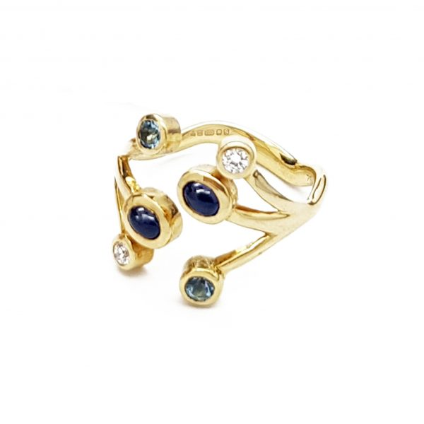 Jania Ring yellow sapphires and diamond ring by Serena Fox