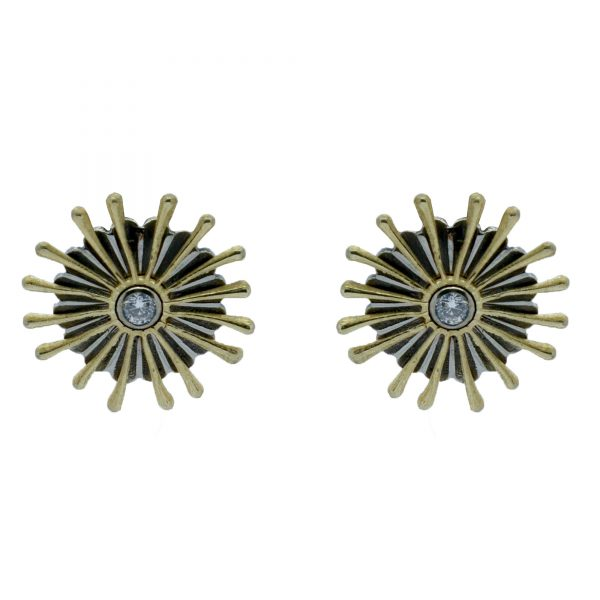 Serena Fox - Sunray Coral Earring in 18ct Yellow and White Gold and Diamonds