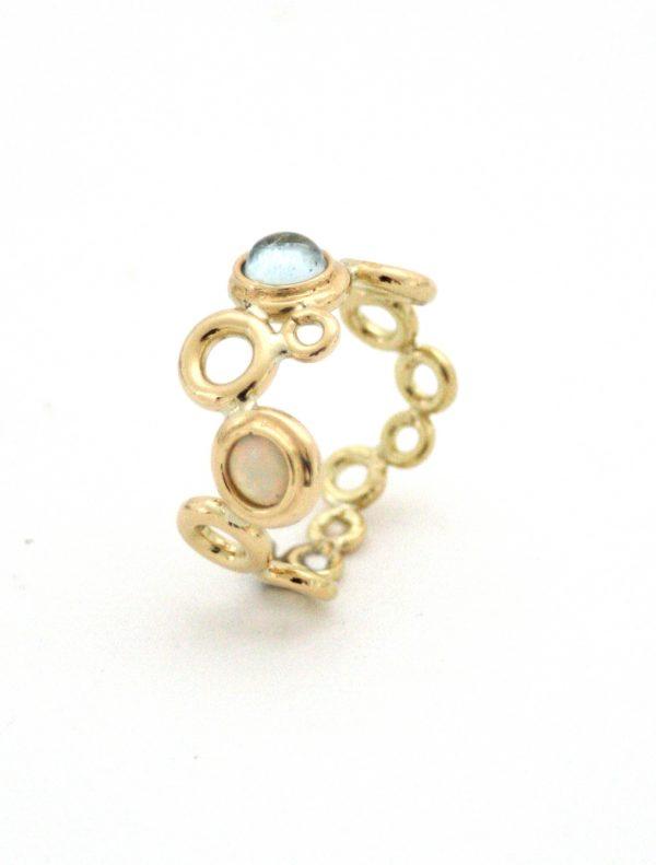 Ocean Foam Aquamarine and opal ring designed by Serena Fox