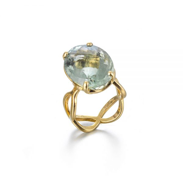 Serena Fox Jewellery Infinity Ring in 18 carat yellow gold with 18.3 carat prasiolite.