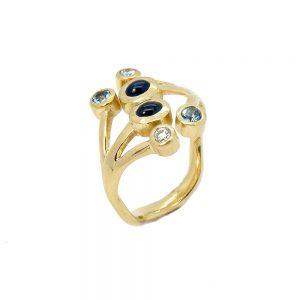 Jania Ring with Sapphire Aquamarine Diamonds
