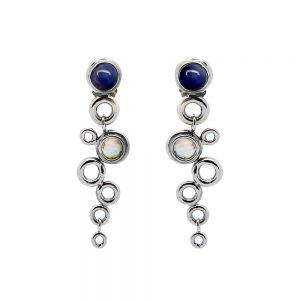 Ocean Foam Earrings Sapphire and Moonstone 18ct White Gold designed by Serena Fox