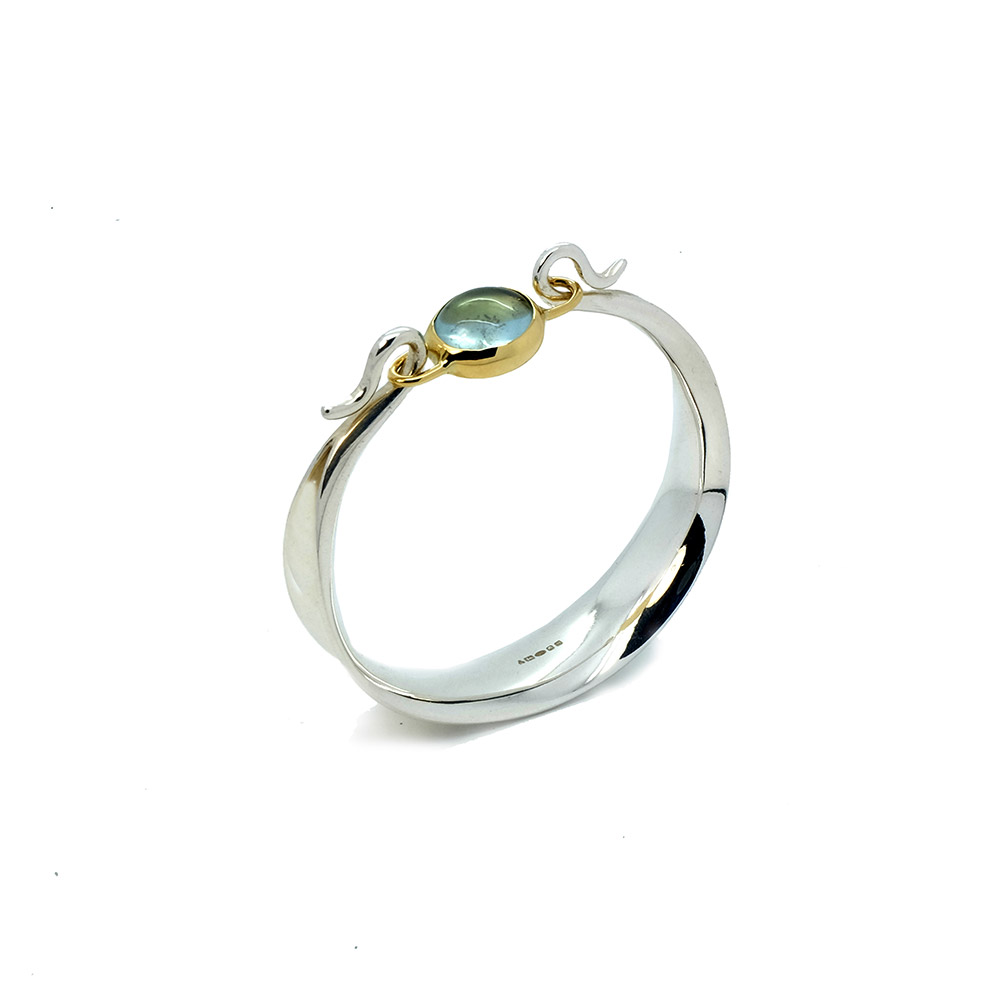Square Ribbon Seaweed Bangle 18ct Y and Silver designed by Serena Fox