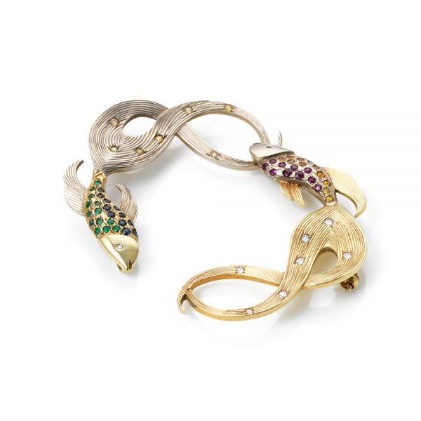 Serena Fox Siamese Fighting Fish brooch 18ct Diamond Emerald Ruby Sapphire