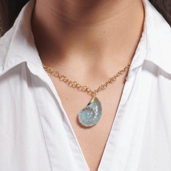 Serena Fox Ammonite Pendant Necklace model