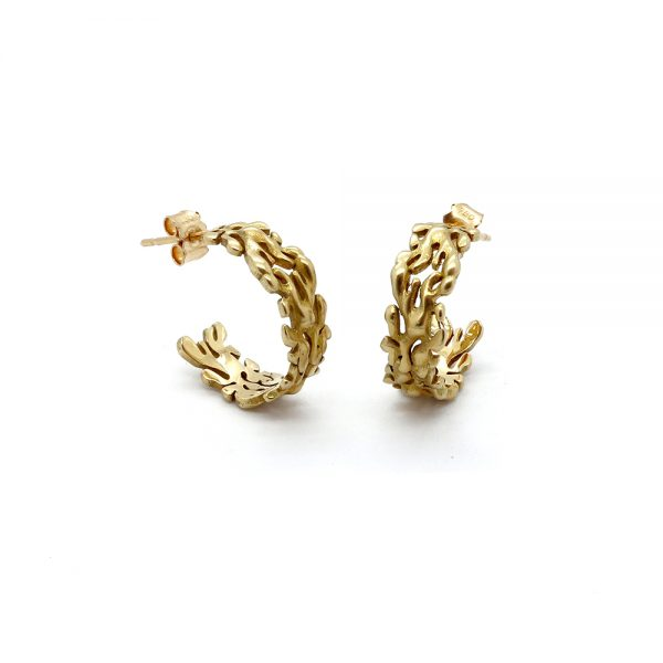 Serena Fox Marine Seaweed Earrings 18ct yellow gold