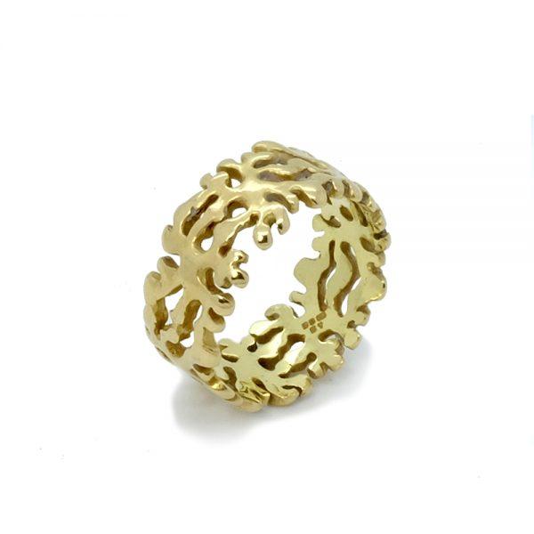 Serena Fox Marine Seaweed Ring 18ct Yellow Gold
