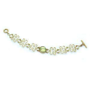 Serena Fox River Bracelet with Grey Green Moonstone and 18ct Yellow Gold