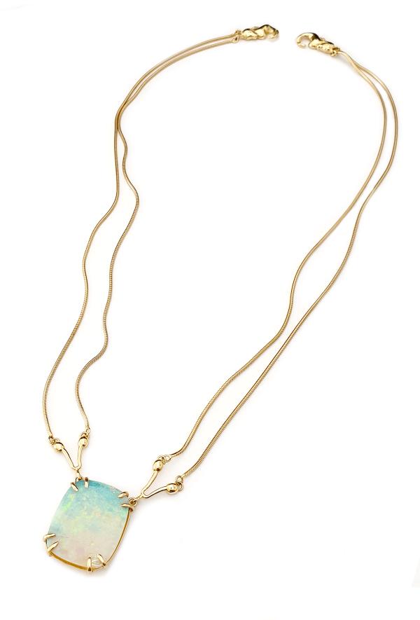 Serena Fox Seahorse Necklace Cushion Cut Opal, 18ct