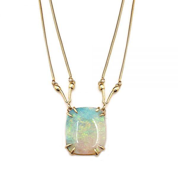 Serena Fox Seahorse Necklace Cushion Cut Opal