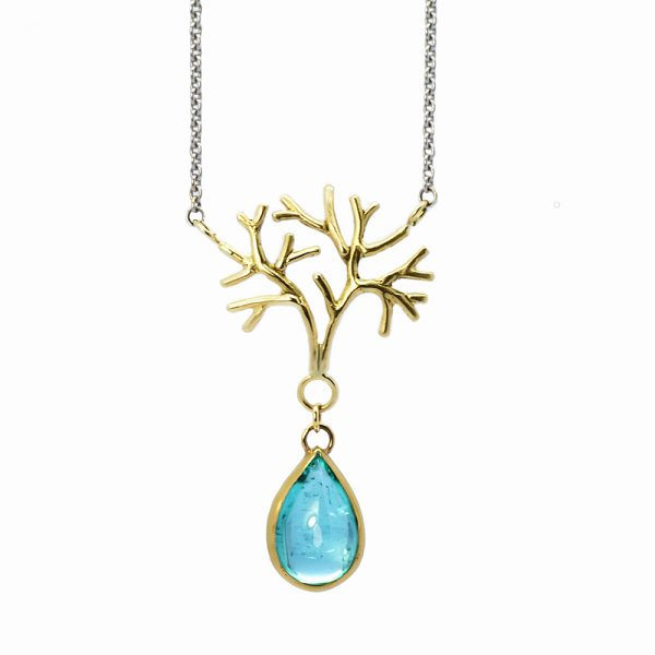 Serena Fox Jewellery Sea Fan Sea Fan Coral Pendant Necklace 18 carat yellow, white gold with Paraiba Tourmaline Drop