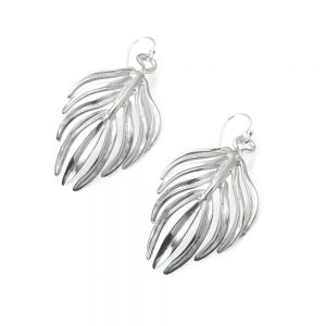 Serena Fox Palm Leaf Earrings silver