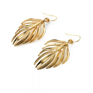 Serena FoxPalm Leaf Earrings yellow gold