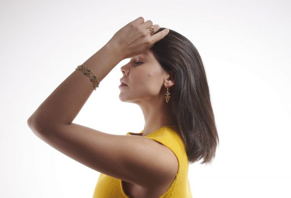 Serena Fox Jewellery Designer Mandarin Catena Bracelet CitrineSea Pod Earrings model