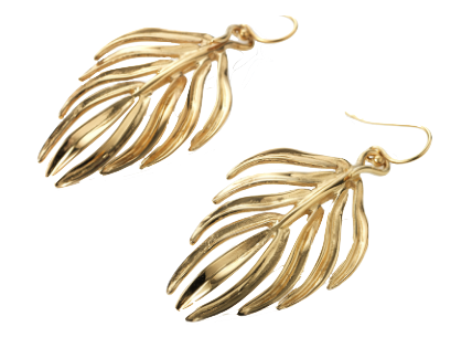 Serena Fox jewellery designer Palm leaf earrings yellow gold