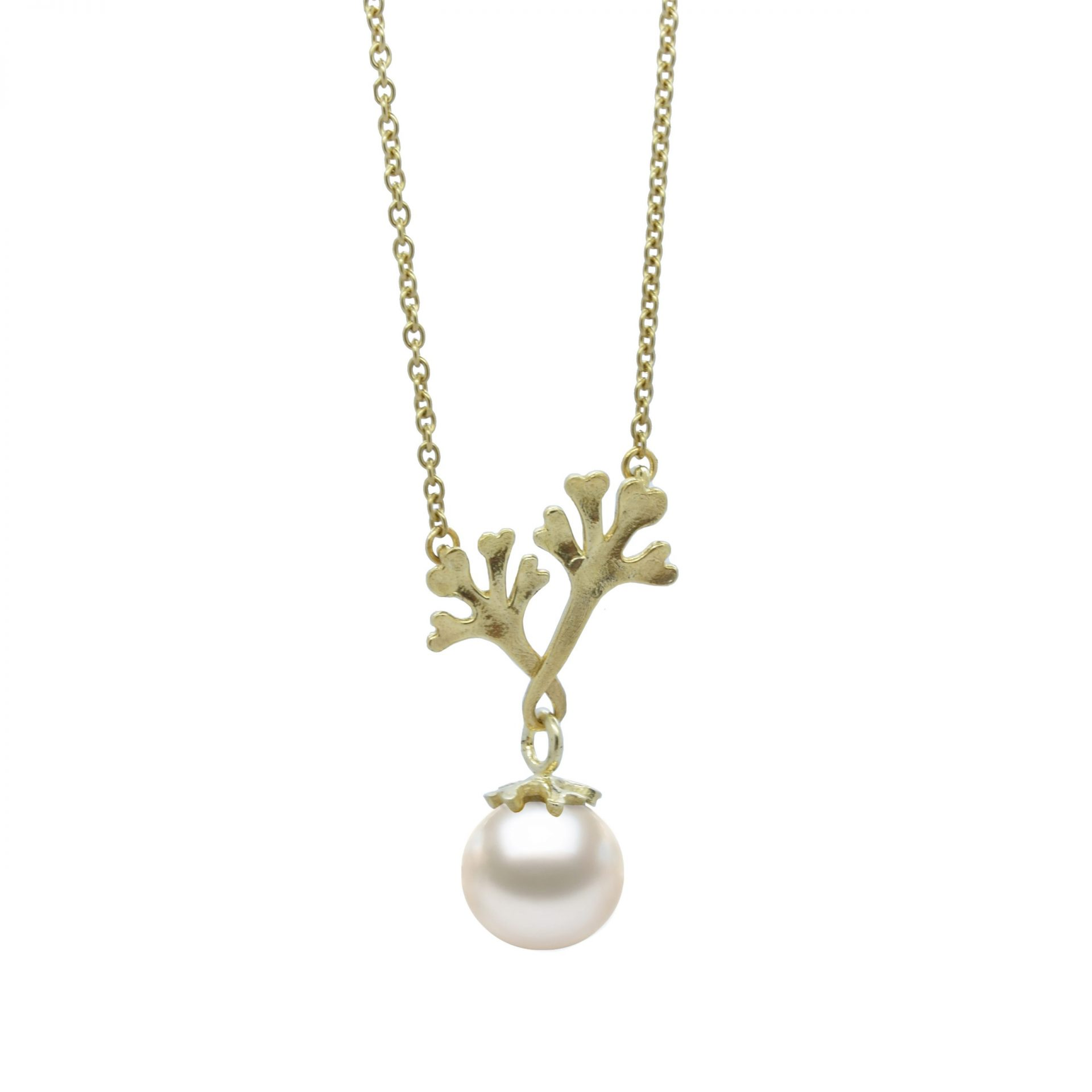 Chondrus Seaweed Pendant with South Sea Pearl by Jewellery designer Serena Fox