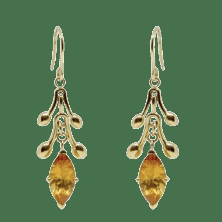 Serena Fox Jewellery Designer Sea Pod Earrings with citrine